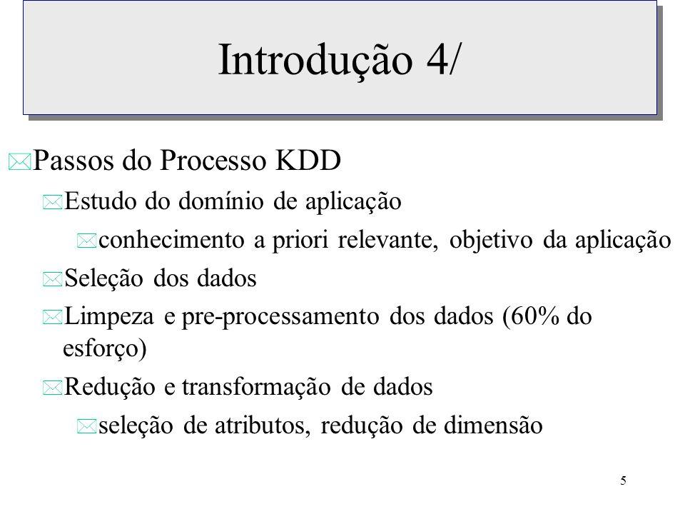 Introdução 4/ Passos do Processo KDD Estudo do domínio de aplicação