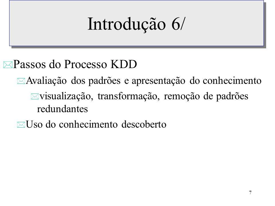 Introdução 6/ Passos do Processo KDD
