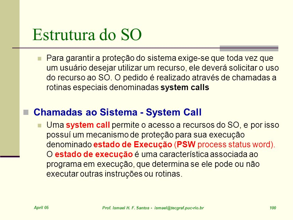 Estrutura do SO Chamadas ao Sistema - System Call