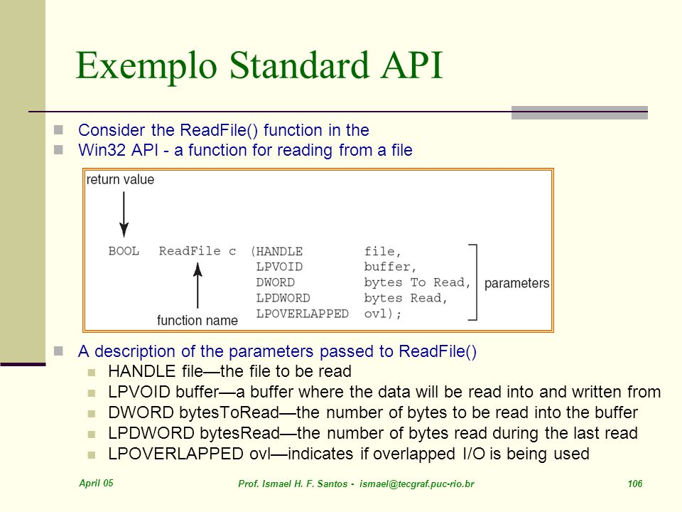 Exemplo Standard API Consider the ReadFile() function in the