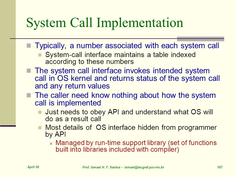 System Call Implementation