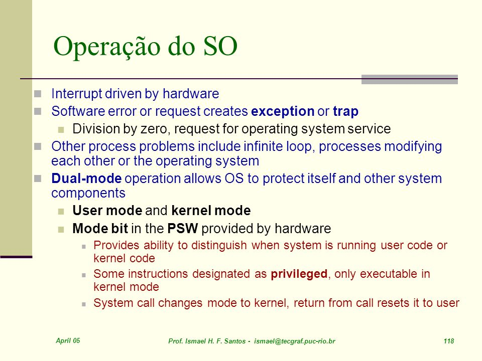 Operação do SO Interrupt driven by hardware