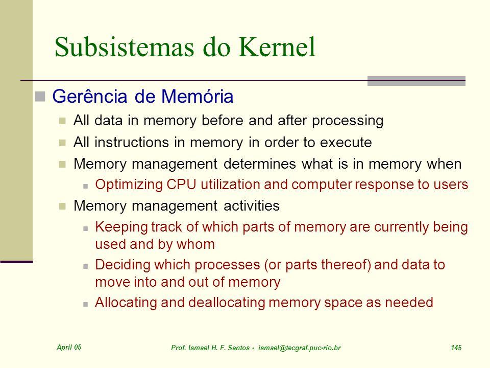 Subsistemas do Kernel Gerência de Memória
