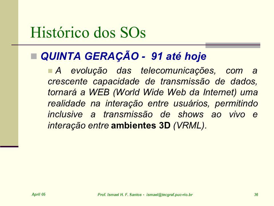 Histórico dos SOs QUINTA GERAÇÃO - 91 até hoje