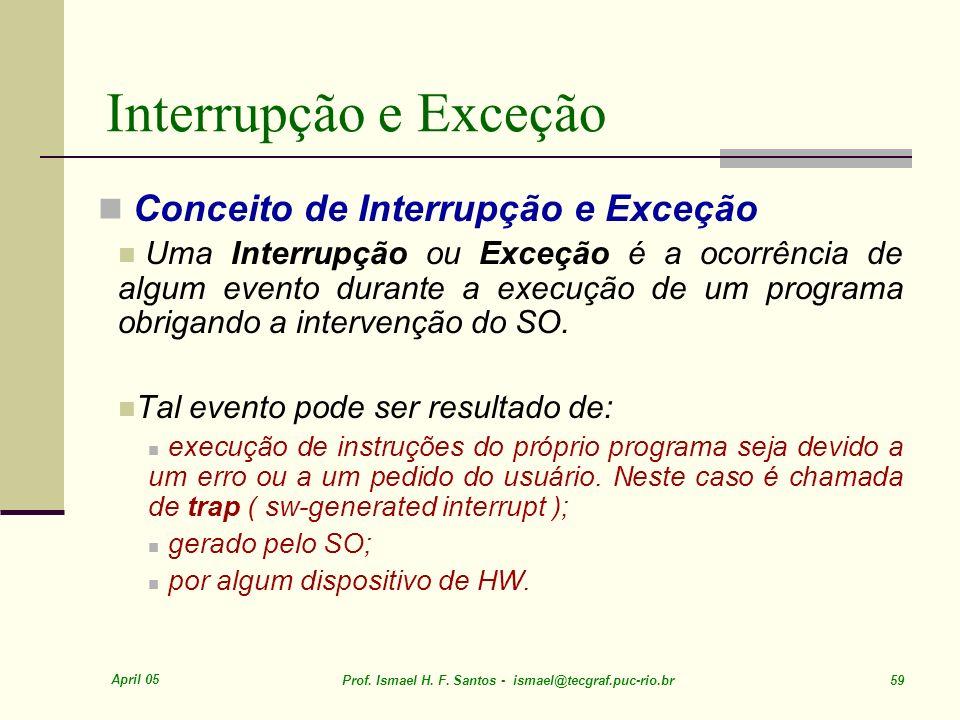 Interrupção e Exceção Conceito de Interrupção e Exceção