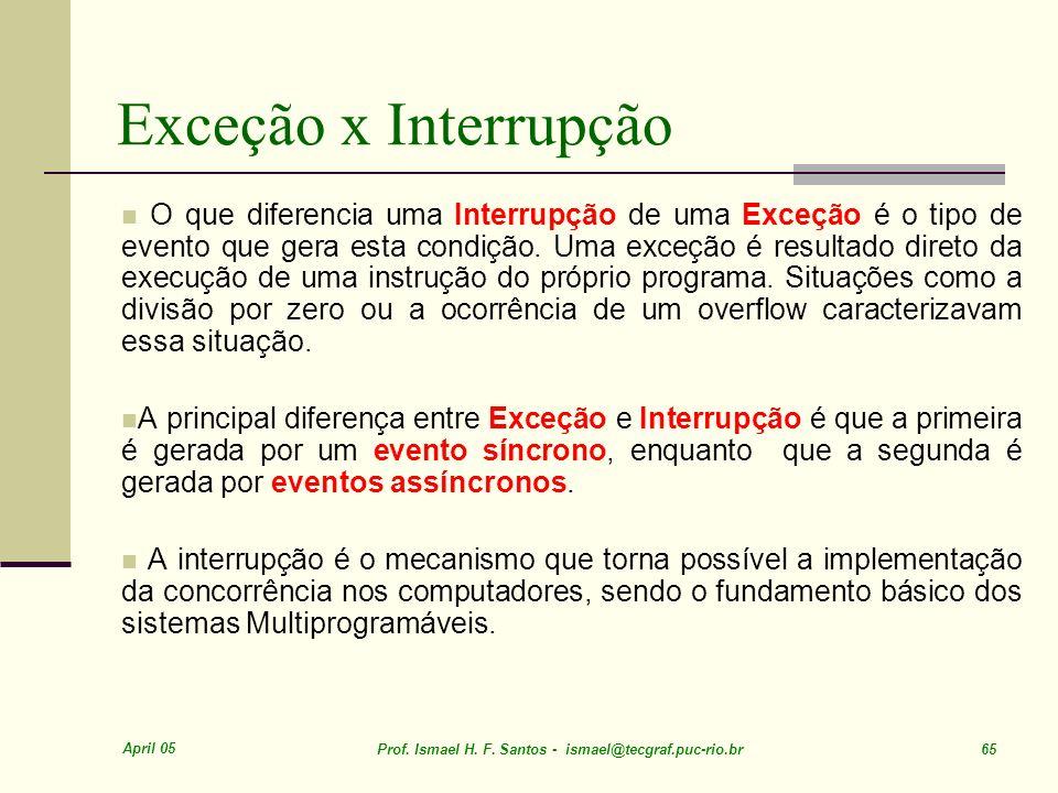 Exceção x Interrupção
