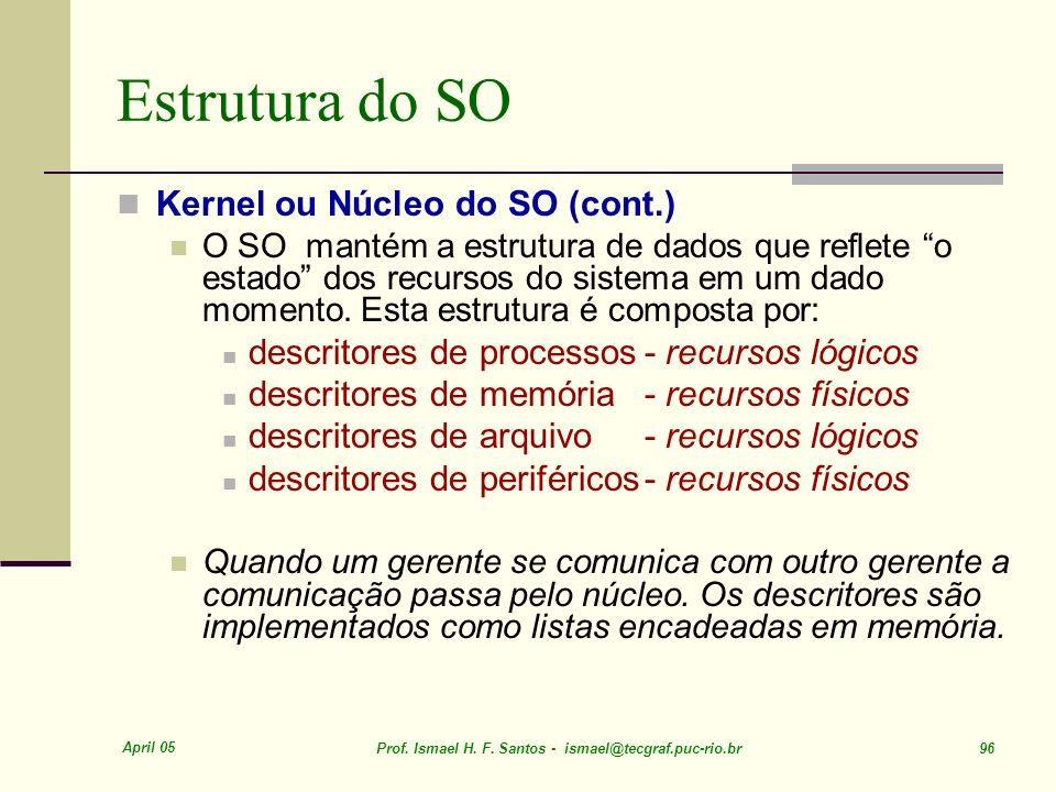 Estrutura do SO Kernel ou Núcleo do SO (cont.)