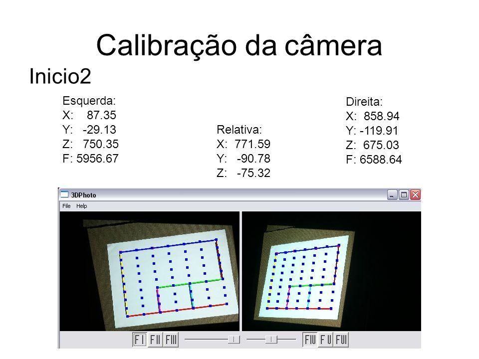 Calibração da câmera Inicio2 Esquerda: X: 87.35 Y: -29.13 Z: 750.35
