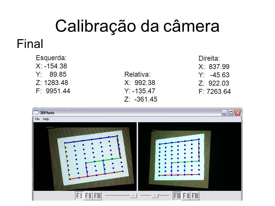Calibração da câmera Final Esquerda: X: -154.38 Y: 89.85 Z: 1283.48