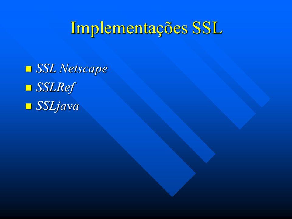 Implementações SSL SSL Netscape SSLRef SSLjava