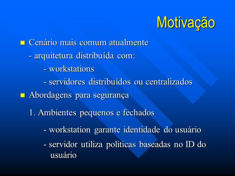 Motivação Cenário mais comum atualmente - arquitetura distribuída com: