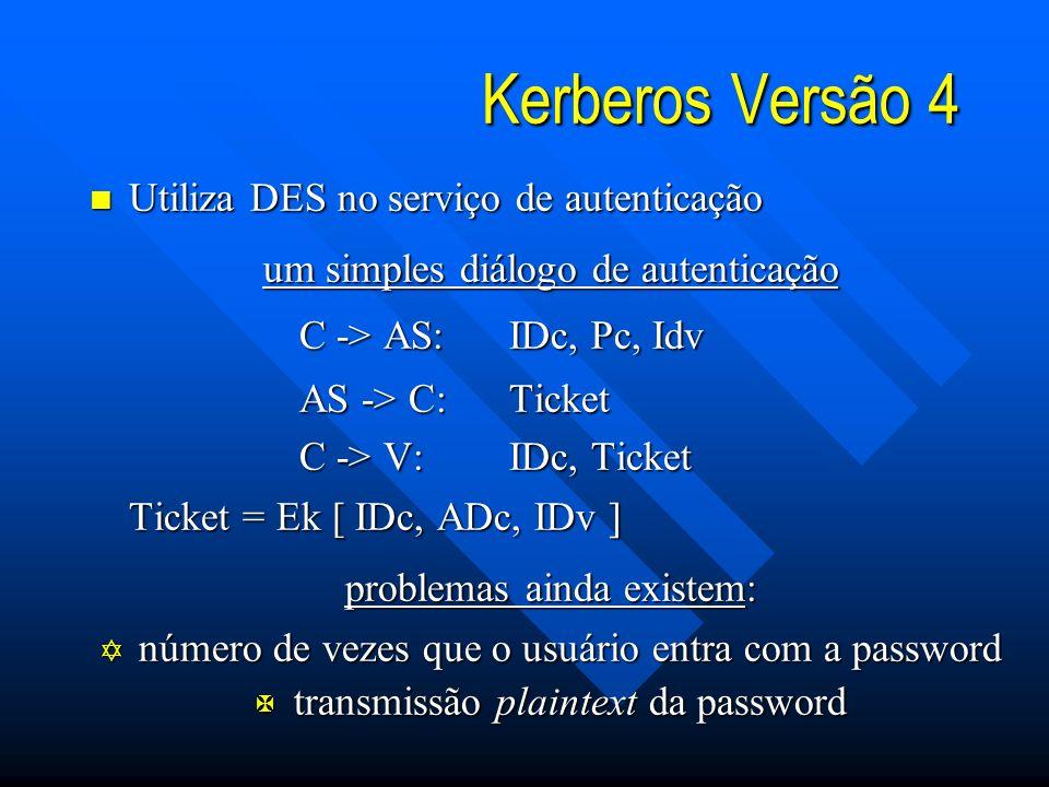 Kerberos Versão 4 Utiliza DES no serviço de autenticação
