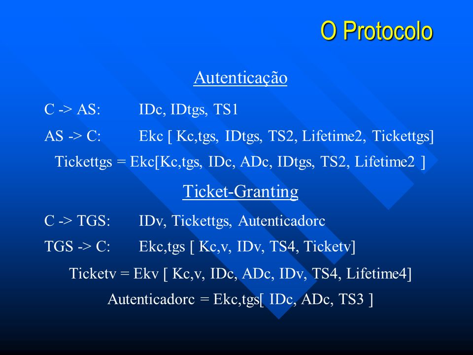 O Protocolo Autenticação Ticket-Granting C -> AS: IDc, IDtgs, TS1