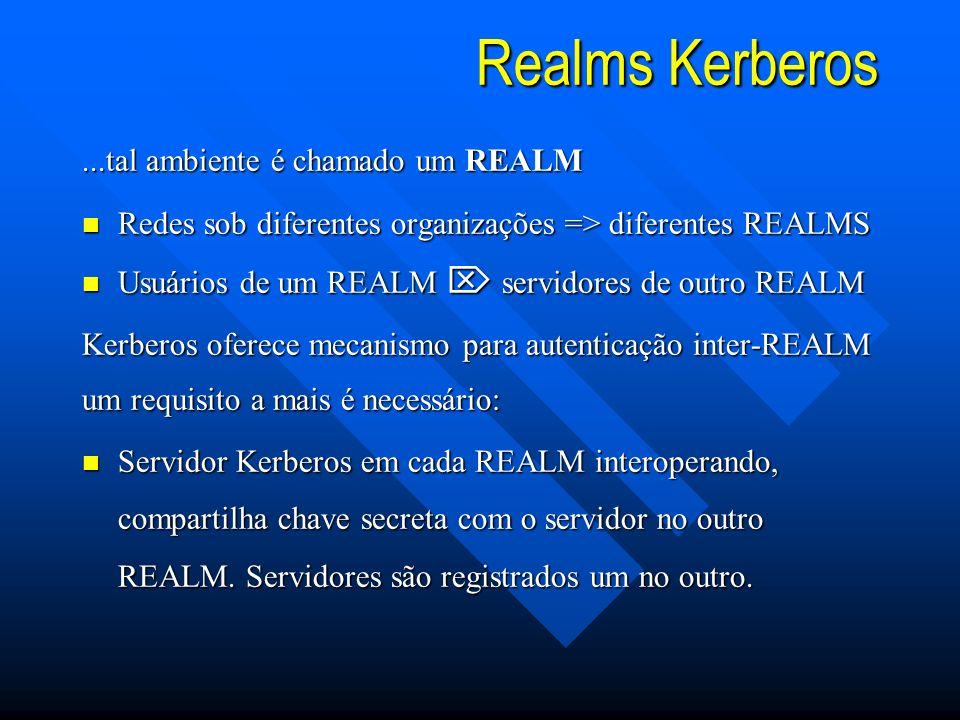 Realms Kerberos ...tal ambiente é chamado um REALM