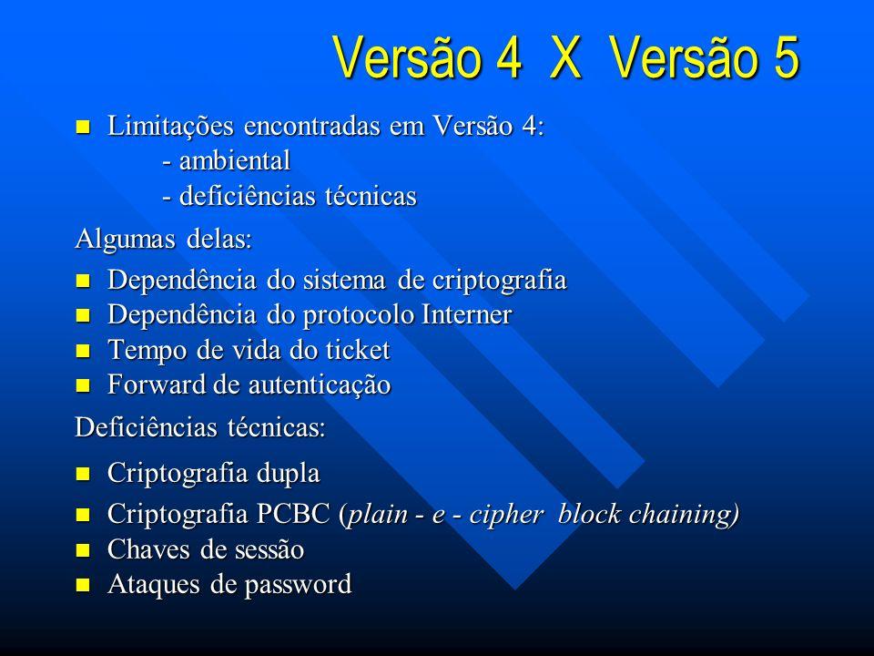 Versão 4 X Versão 5 Limitações encontradas em Versão 4: - ambiental
