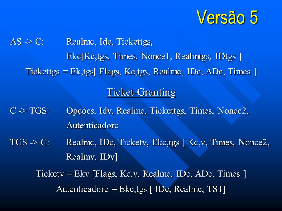 Versão 5 Ticket-Granting AS -> C: Realmc, Idc, Tickettgs,