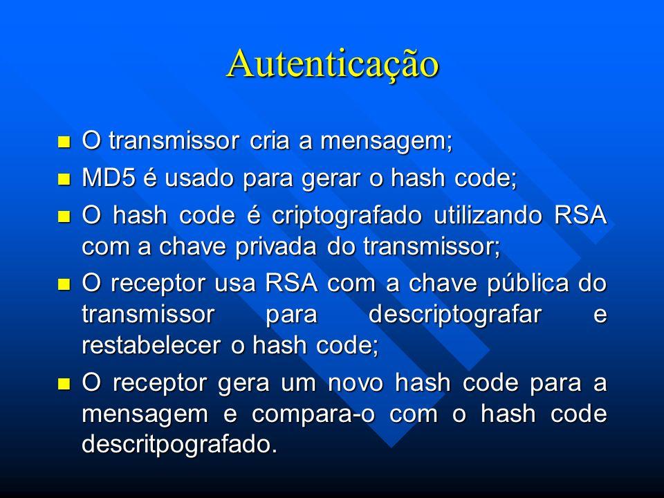 Autenticação O transmissor cria a mensagem;