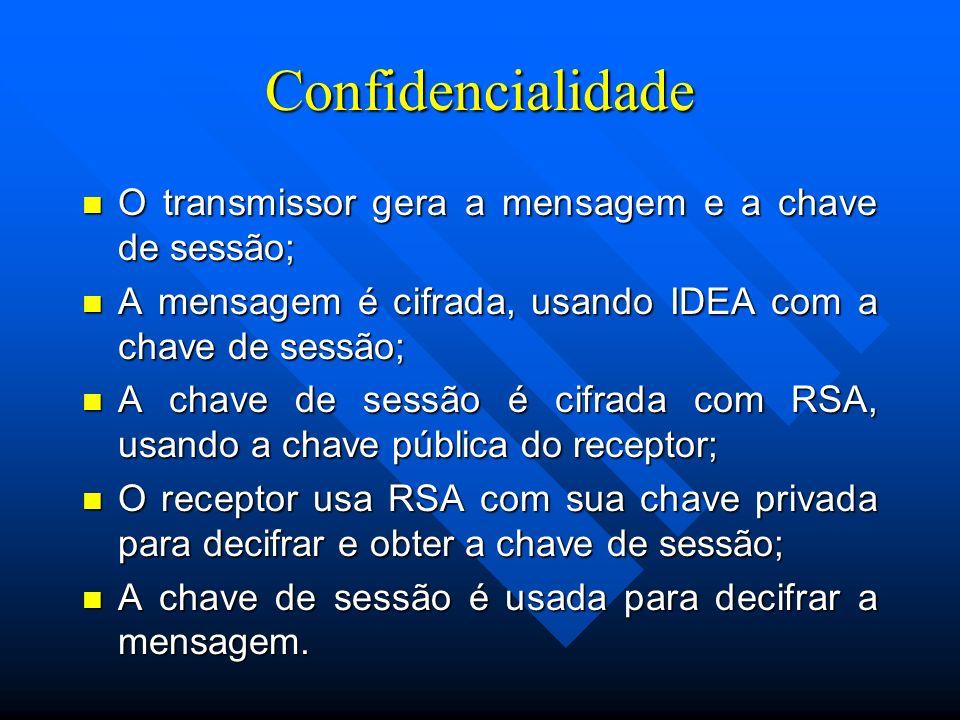 Confidencialidade O transmissor gera a mensagem e a chave de sessão;
