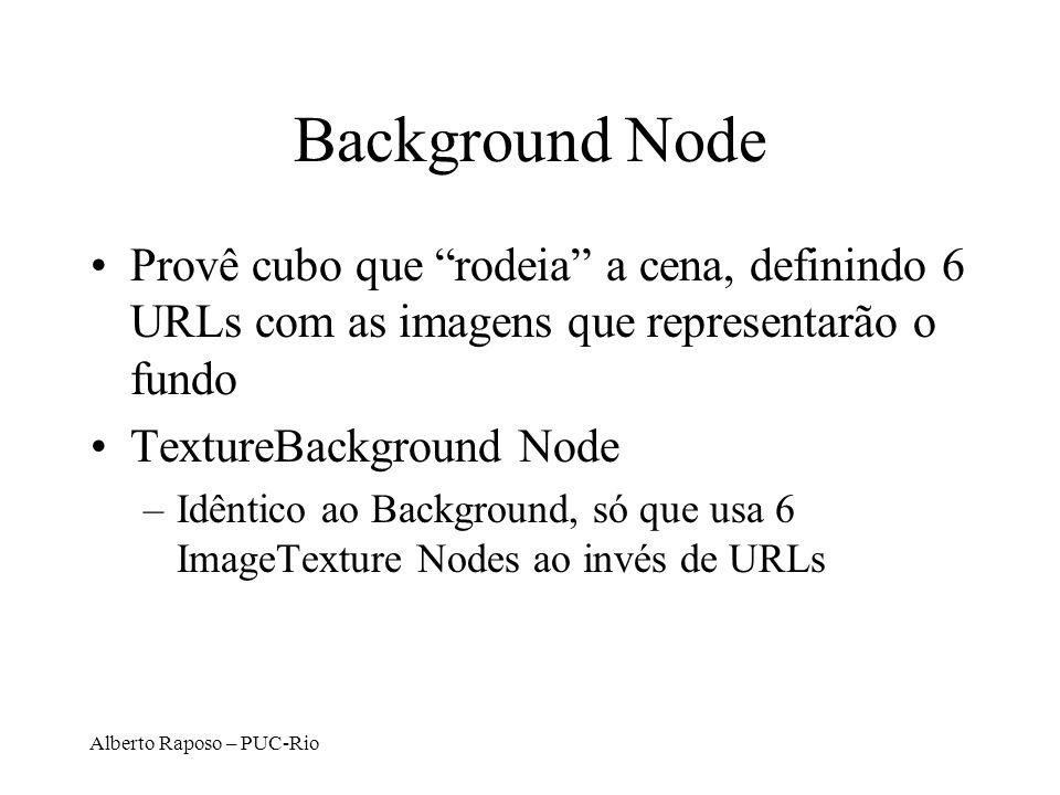 Background Node Provê cubo que rodeia a cena, definindo 6 URLs com as imagens que representarão o fundo.