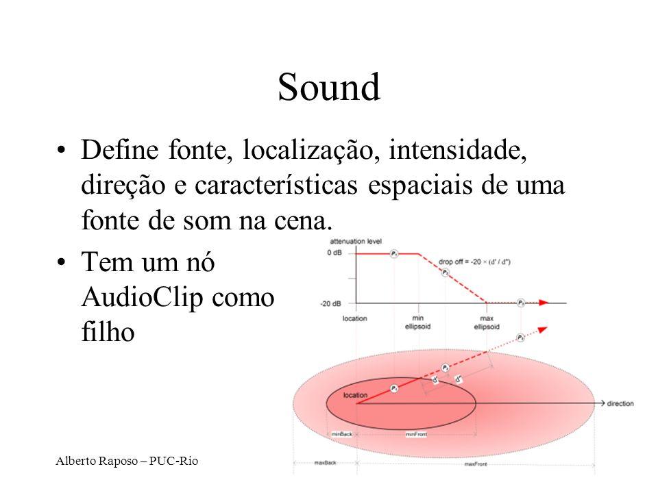 Sound Define fonte, localização, intensidade, direção e características espaciais de uma fonte de som na cena.