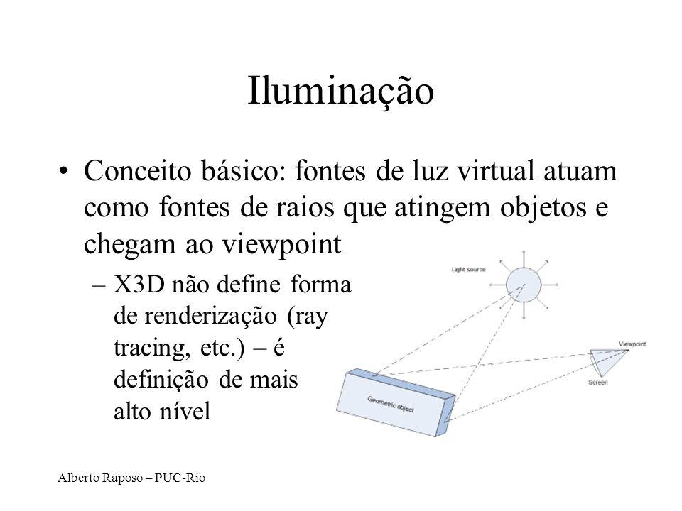 Iluminação Conceito básico: fontes de luz virtual atuam como fontes de raios que atingem objetos e chegam ao viewpoint.