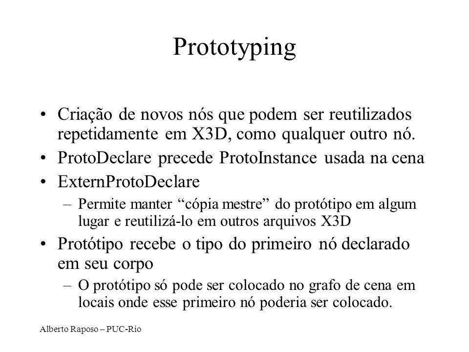 Prototyping Criação de novos nós que podem ser reutilizados repetidamente em X3D, como qualquer outro nó.