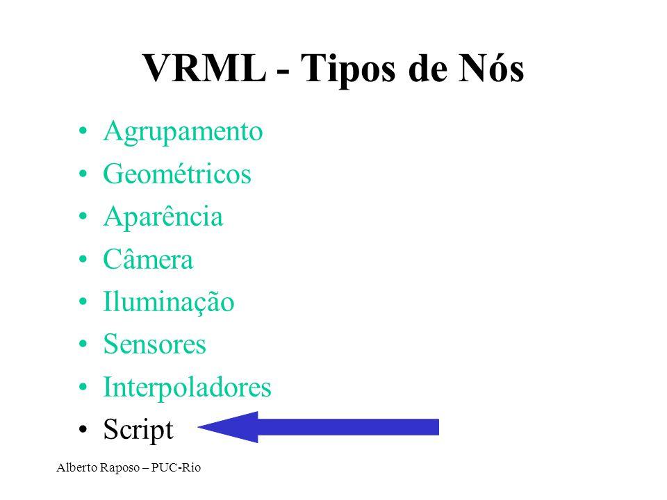 VRML - Tipos de Nós Agrupamento Geométricos Aparência Câmera