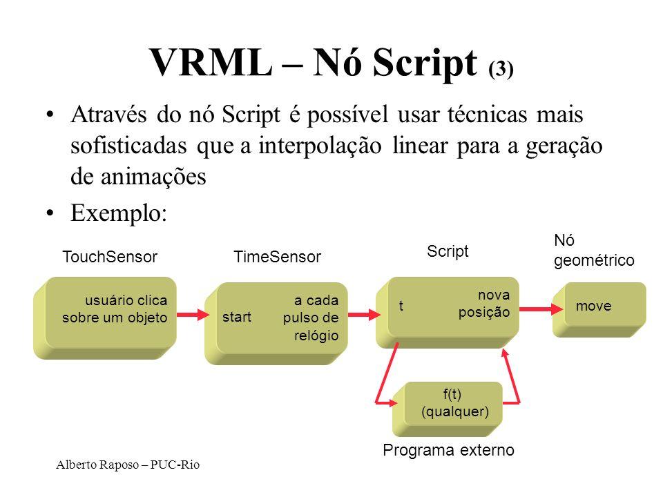 VRML – Nó Script (3) Através do nó Script é possível usar técnicas mais sofisticadas que a interpolação linear para a geração de animações.
