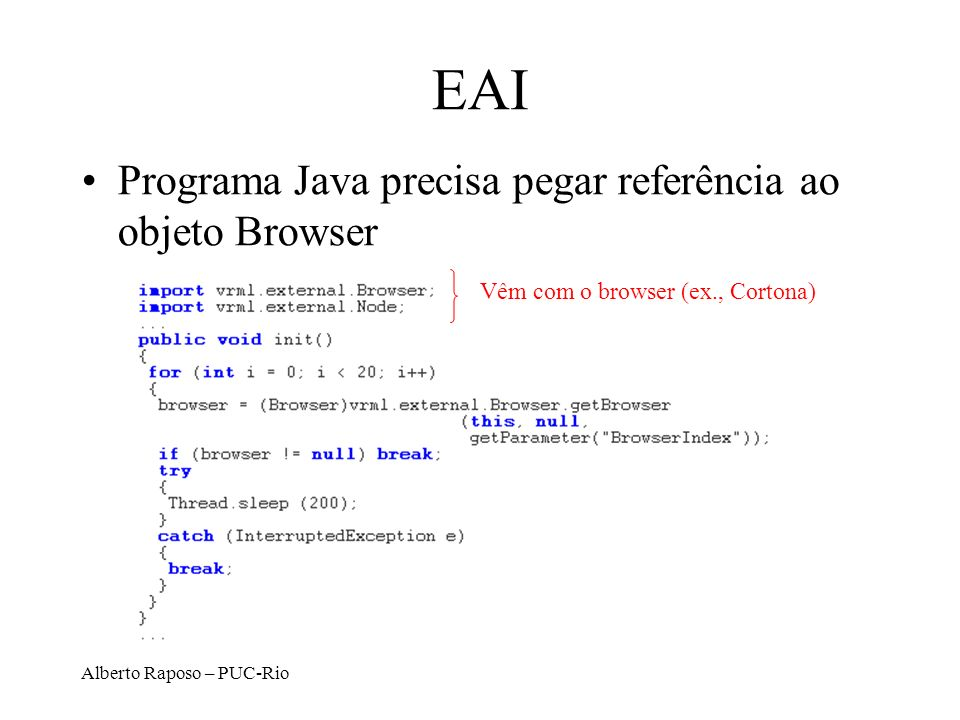 EAI Programa Java precisa pegar referência ao objeto Browser