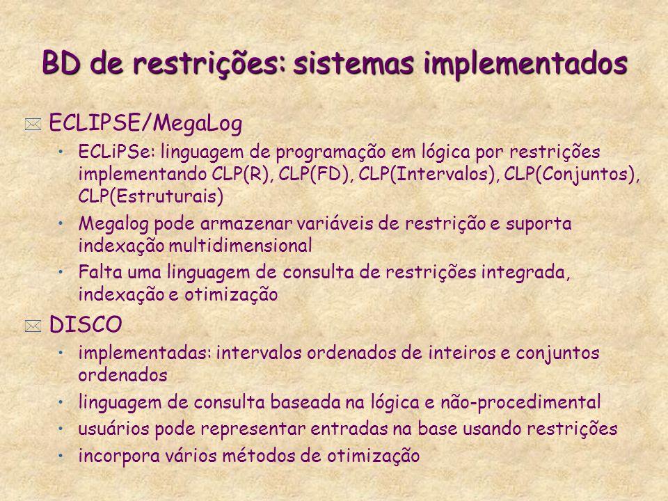 BD de restrições: sistemas implementados