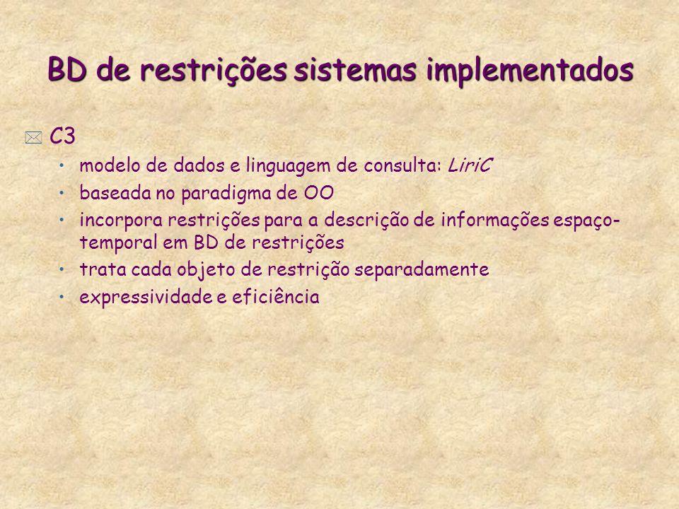 BD de restrições sistemas implementados