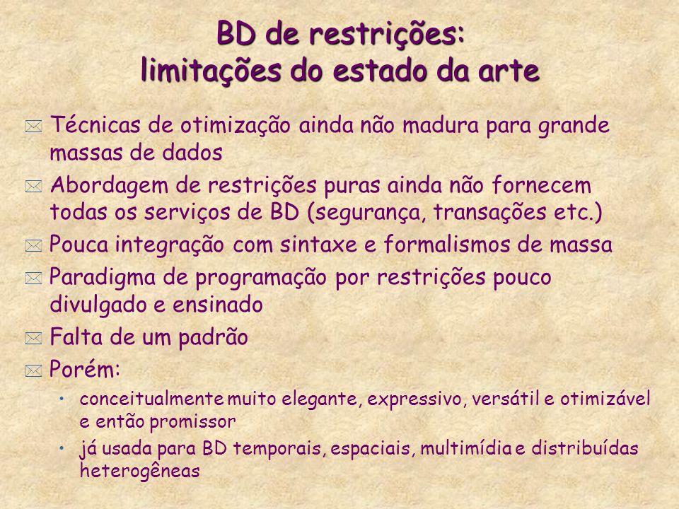 BD de restrições: limitações do estado da arte