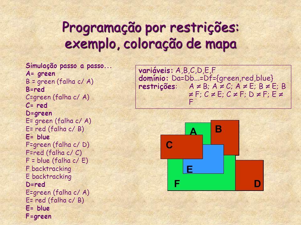 Programação por restrições: exemplo, coloração de mapa