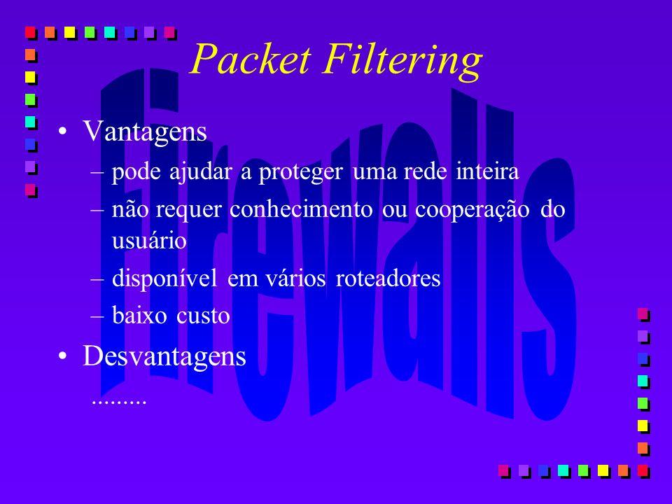 Packet Filtering Vantagens Desvantagens