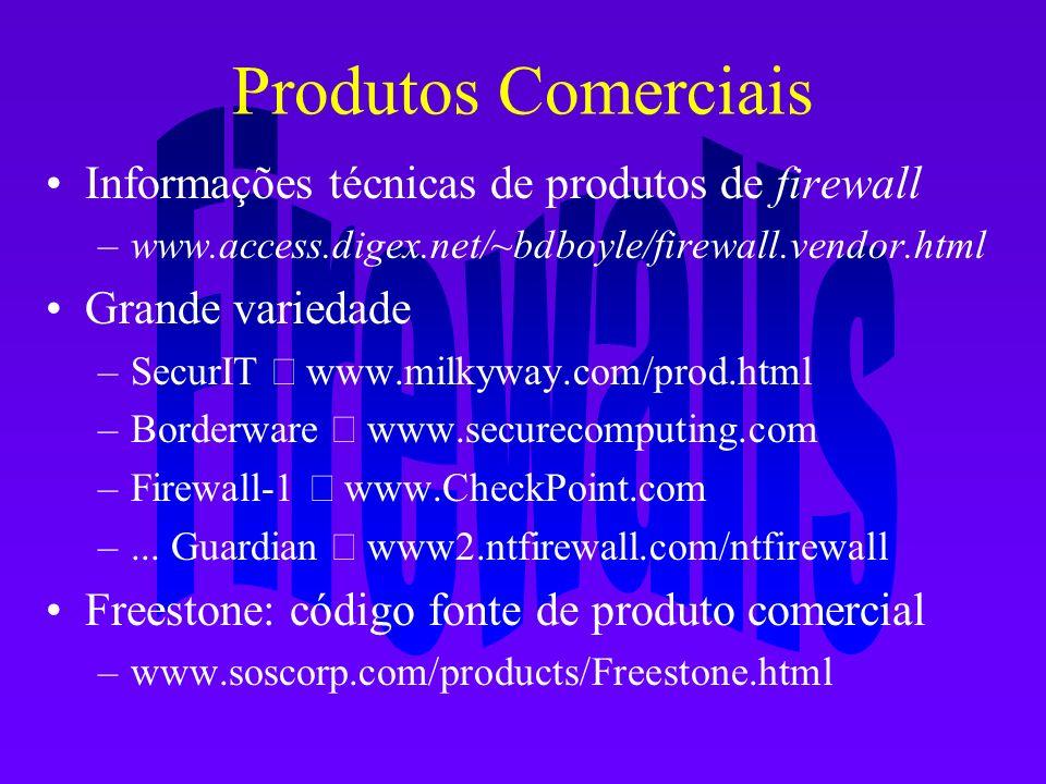 Produtos Comerciais Informações técnicas de produtos de firewall