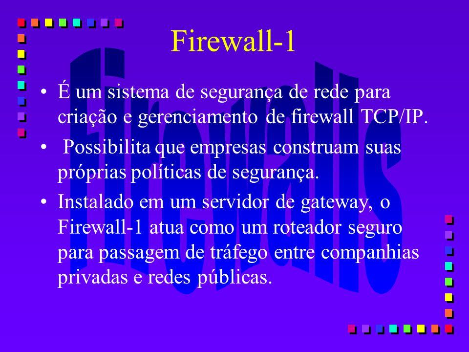 Firewall-1 É um sistema de segurança de rede para criação e gerenciamento de firewall TCP/IP.