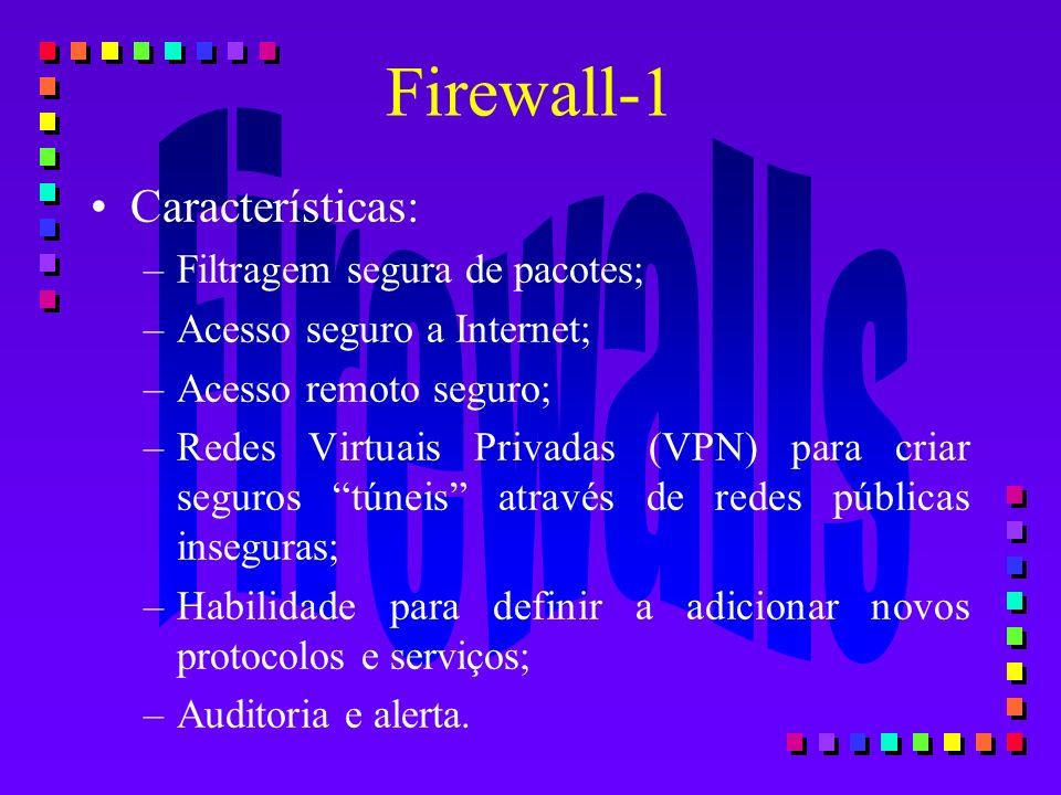 Firewall-1 Características: Filtragem segura de pacotes;