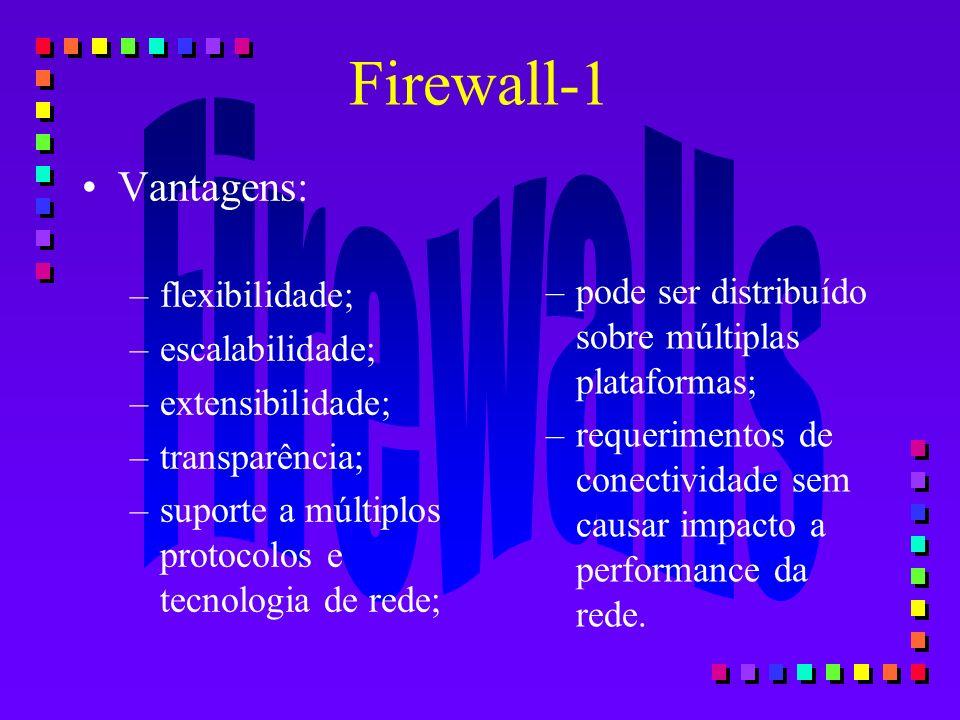 Firewall-1 Vantagens: flexibilidade; escalabilidade; extensibilidade;