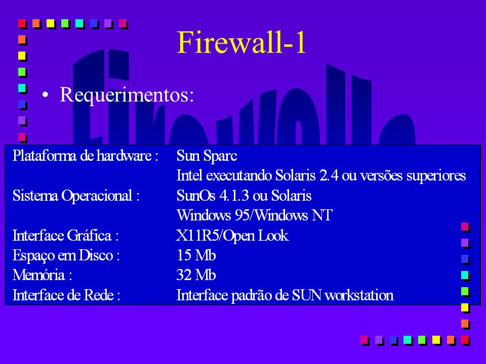 Firewall-1 Requerimentos: