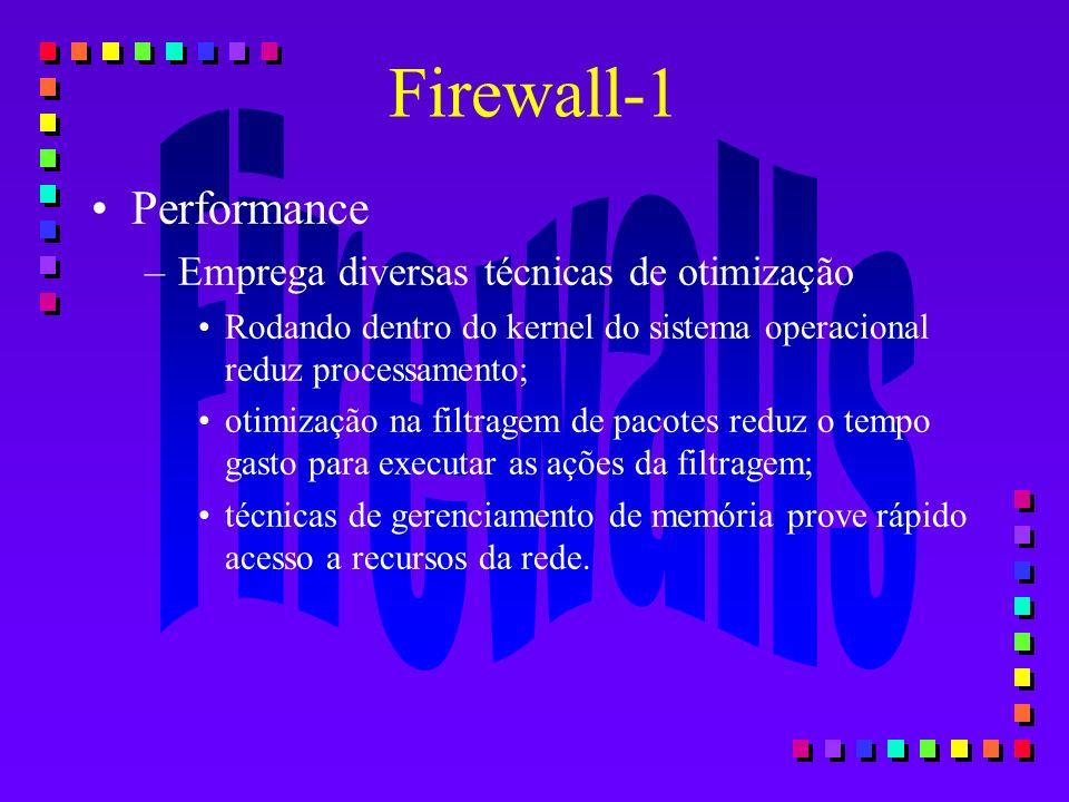 Firewall-1 Performance Emprega diversas técnicas de otimização