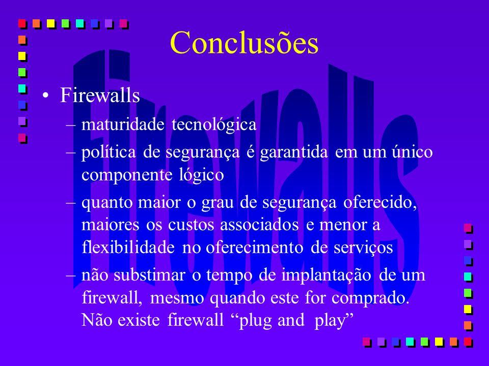 Conclusões Firewalls maturidade tecnológica