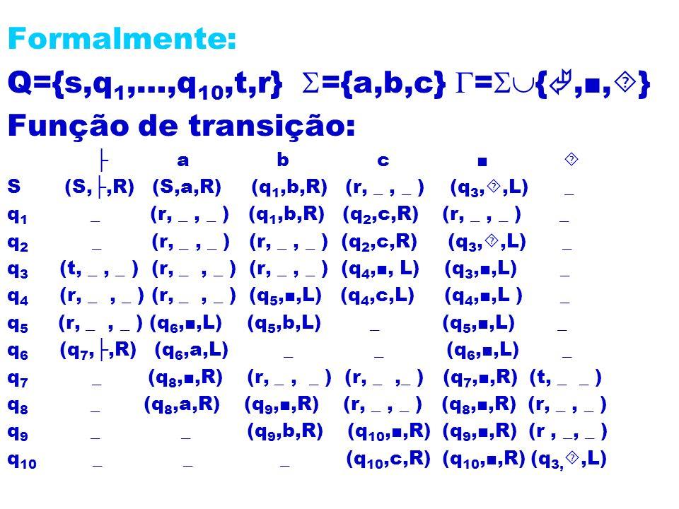 Q={s,q1,…,q10,t,r} ={a,b,c} ={,■,} Função de transição: