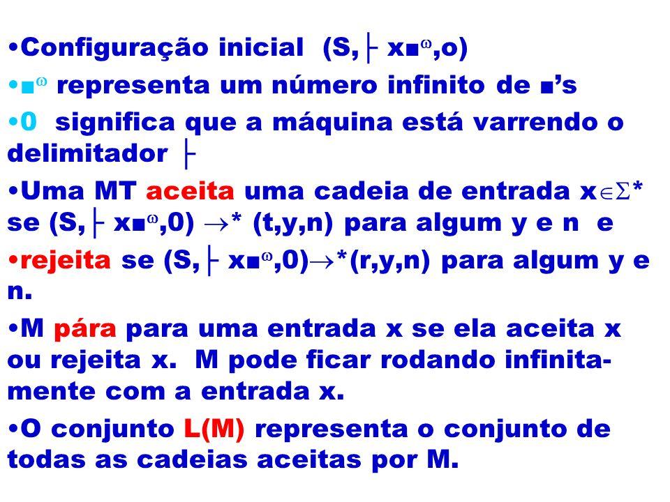 Configuração inicial (S,├ x■,o)
