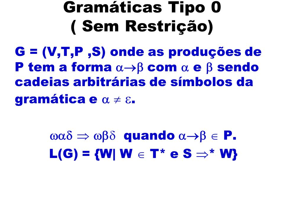 Gramáticas Tipo 0 ( Sem Restrição)