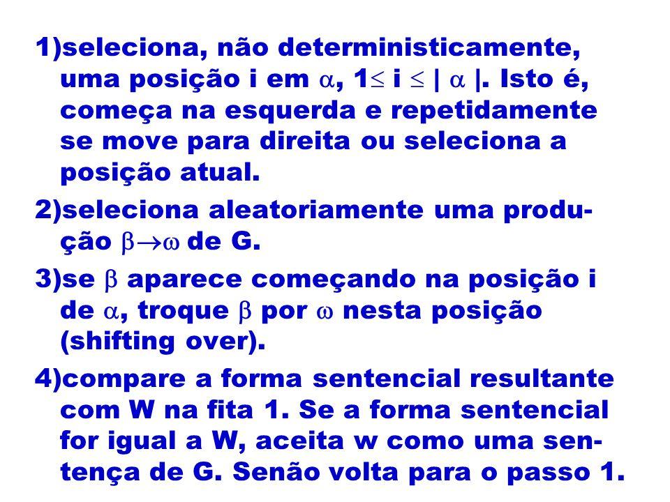 1)seleciona, não deterministicamente, uma posição i em , 1 i  |  |