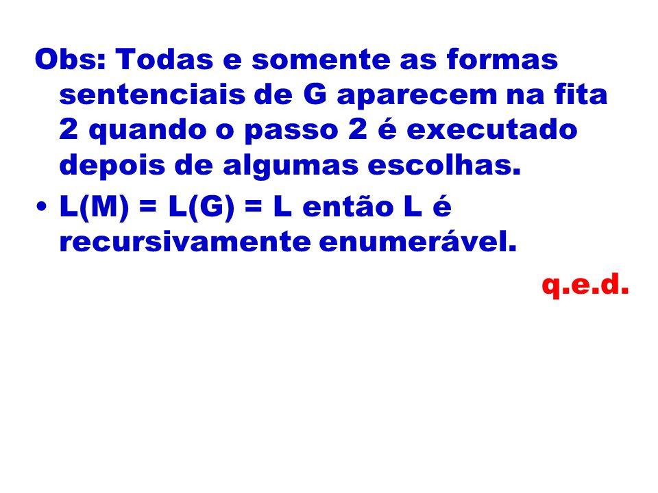 Obs: Todas e somente as formas sentenciais de G aparecem na fita 2 quando o passo 2 é executado depois de algumas escolhas.
