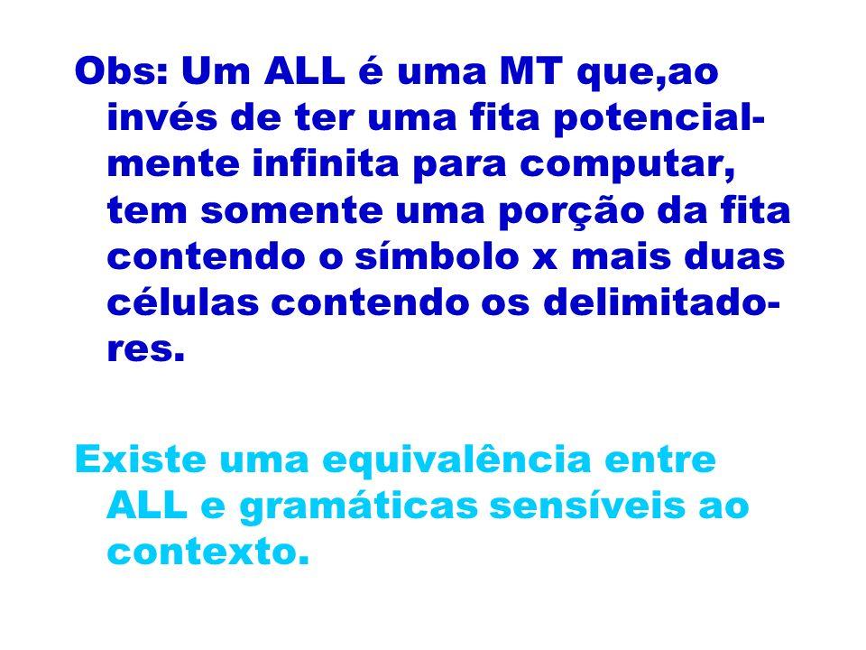 Obs: Um ALL é uma MT que,ao invés de ter uma fita potencial-mente infinita para computar, tem somente uma porção da fita contendo o símbolo x mais duas células contendo os delimitado-res.