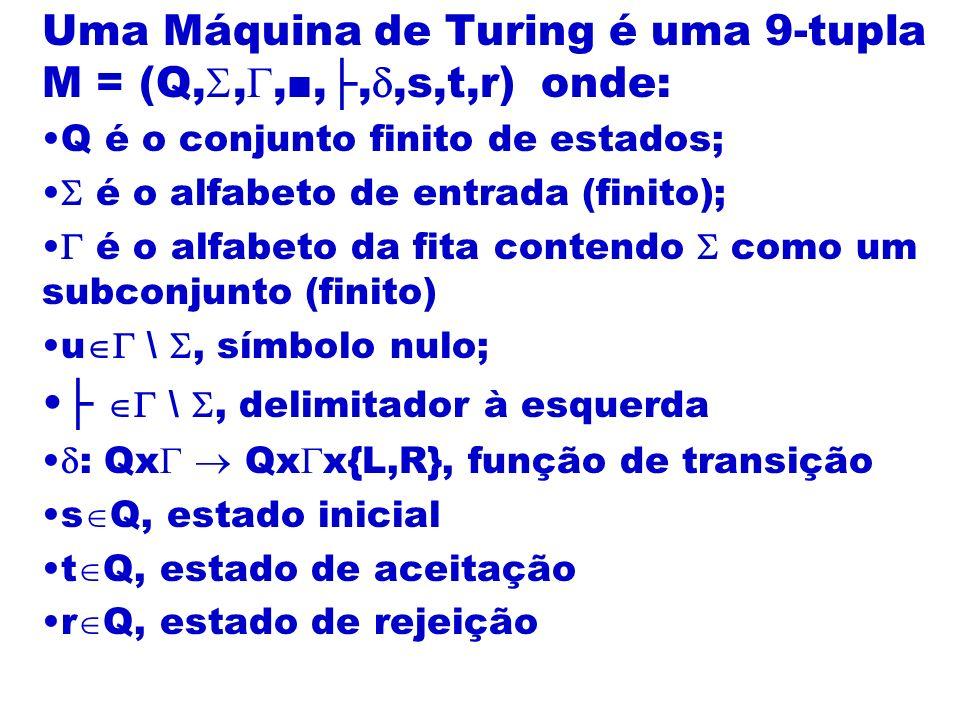 Uma Máquina de Turing é uma 9-tupla M = (Q,,,■,├,,s,t,r) onde: