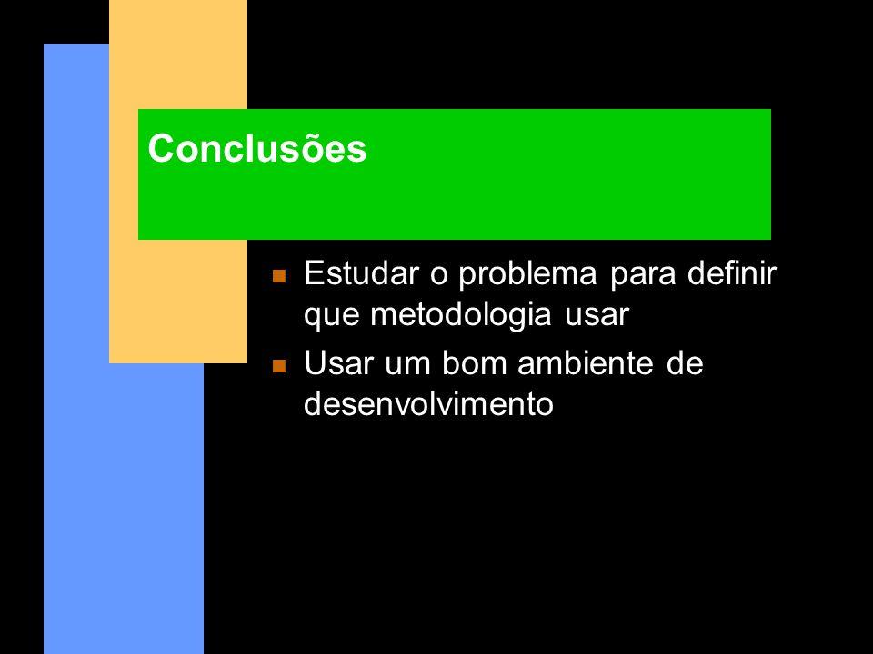 Conclusões Estudar o problema para definir que metodologia usar