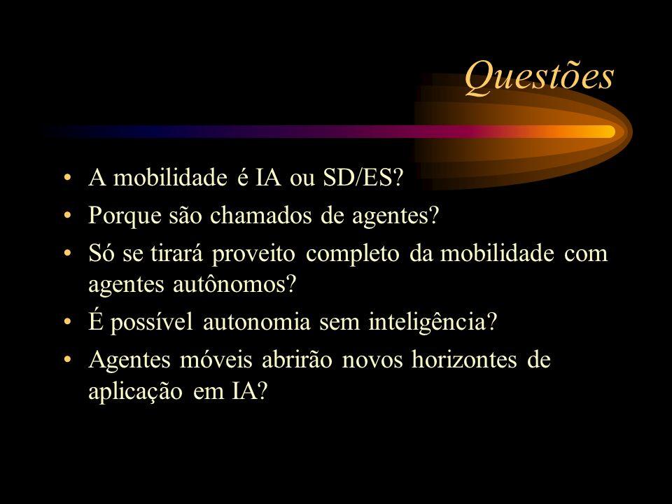 Questões A mobilidade é IA ou SD/ES Porque são chamados de agentes